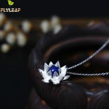 b72c322bd847 Flyleaf plata esterlina 925 Lapis Lazuli Lotus flor collares y colgantes  para las mujeres creativa elegante señora moda joyería