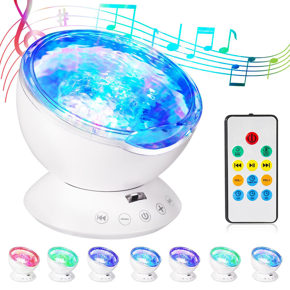 Starry LED Night Light Music Ocean Wave Projector Novelty Light Remote Control 7 Color Changing Music Player Night Lamp For Kids