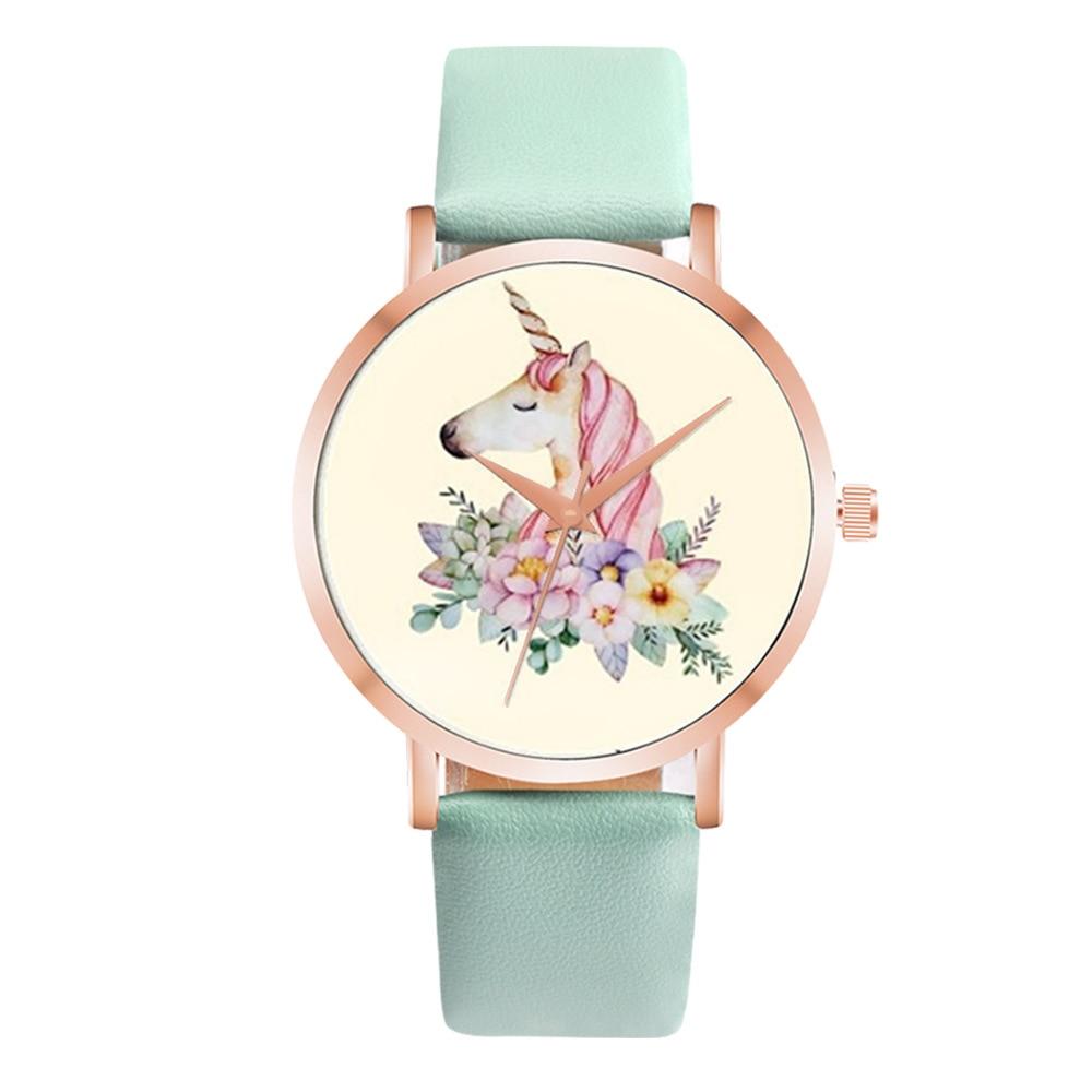 New Arrival Unicorn Design Cartoon Children Watch Fashion Girl Kids Student Cute Leather Quartz WristWatches Relojes