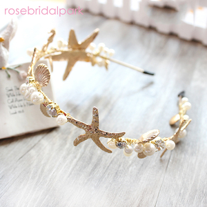 Image 1 - Rosebridalpark חדש חוף כוכב ים פגז סרט עבור כלות חתונה שיער אביזרי כלה מסיבת תכשיטי כיסוי ראש נזר T548