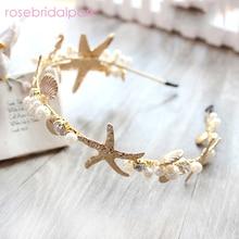 rosebridalpark new beach starfish shell headband for brides wedding hair accessories bridal party jewelry headpiece tiara T548