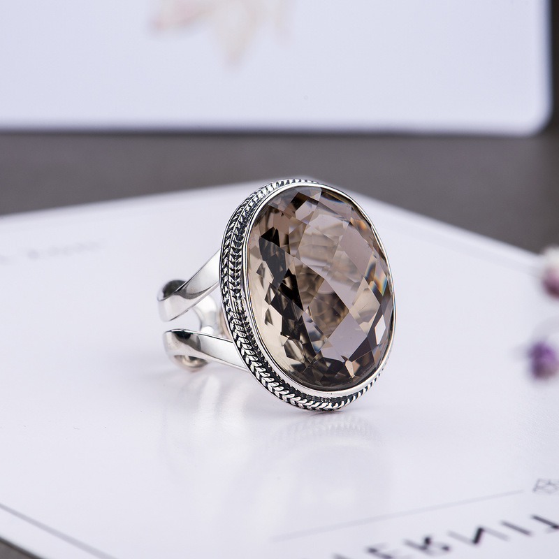 Authentic Ring Silver 925 Rings Exaggerated Smoky Quartz Faceted Ring Women Natural Stone Opening Type Fine Jewellery