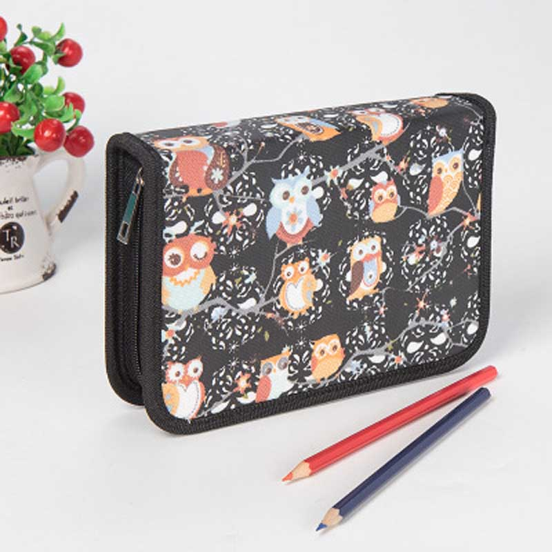 School Pencil Case Large Capacity Owl Cake Printing Zipper Pencil Bag 39 Holes Pencilcase Gifts School Supplies Cute Stationery цены