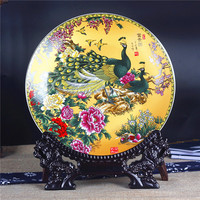 Modern Home Decor Ceramic Ornamental Plate Vintage Peacock Chinese Decoration Lovely Scenery Plate Set Setting Wall