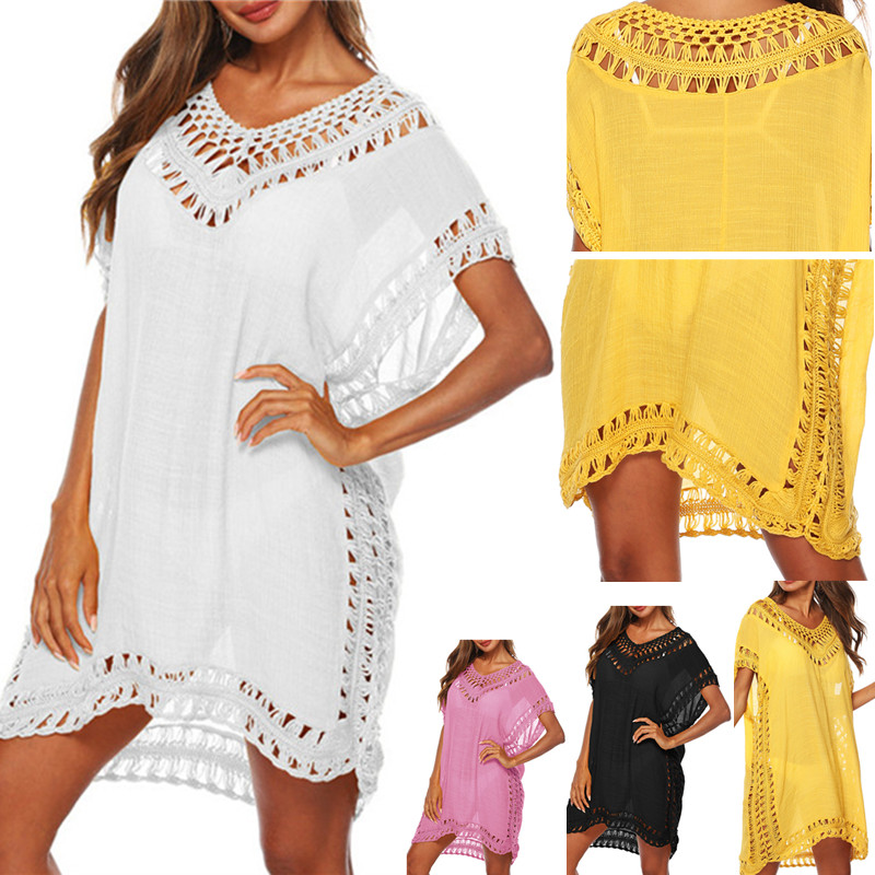 New Swim Cover Up Tunic Beach Dress 2019 Summer White Women Beach Wear Sexy Swimsuit Cover Ups Yellow Dresses Cover-ups V-neck