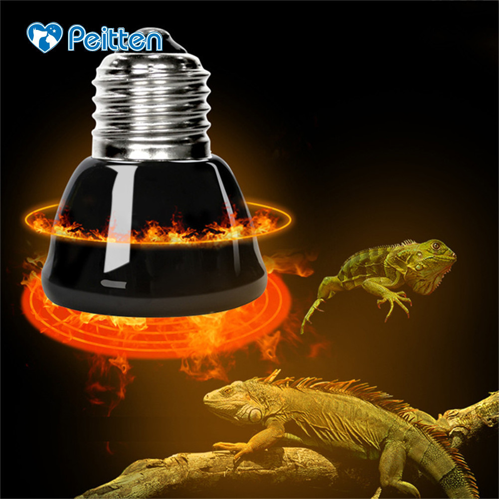 Top Quality E27 Pet Heating Lamp Black Infrared Ceramic Emitter Heat Light Bulb Pet Brooder Chickens Reptile Lamp 25/50/ 75/100w