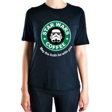 Cool star war coffee 2016 Summer t shirt Women kawaii brand clothing tops harajuku tee shirt funny hipster femme black