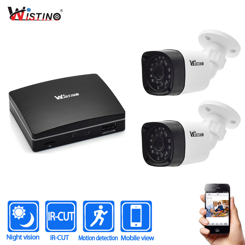 Wistino 1080P Outdoor Security Camera Kits 4Ch CCTV NVR Recorder IP Camera Night Vision Surveillance System Video Camera Onvif