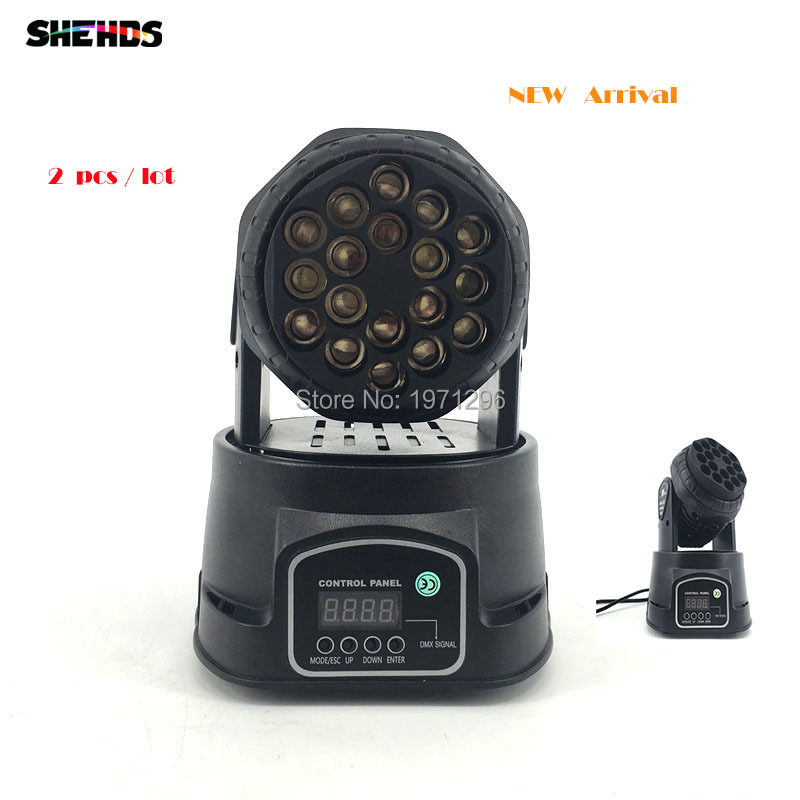2 pcs 2017 HOT 18X3W Beam Moving Head Light RGBW LED Wash Moving Stage Lighting, Good for dj, stage