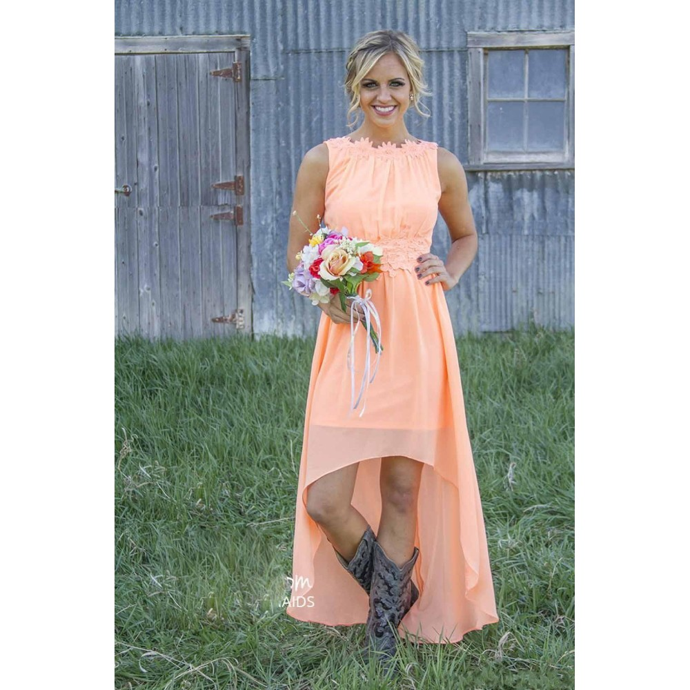 835744e2d44a ... 2016 Mint Orange Country Bridesmaid Dresses Under 100$ Knee length  Hi-Lo Chiffon Junior ...