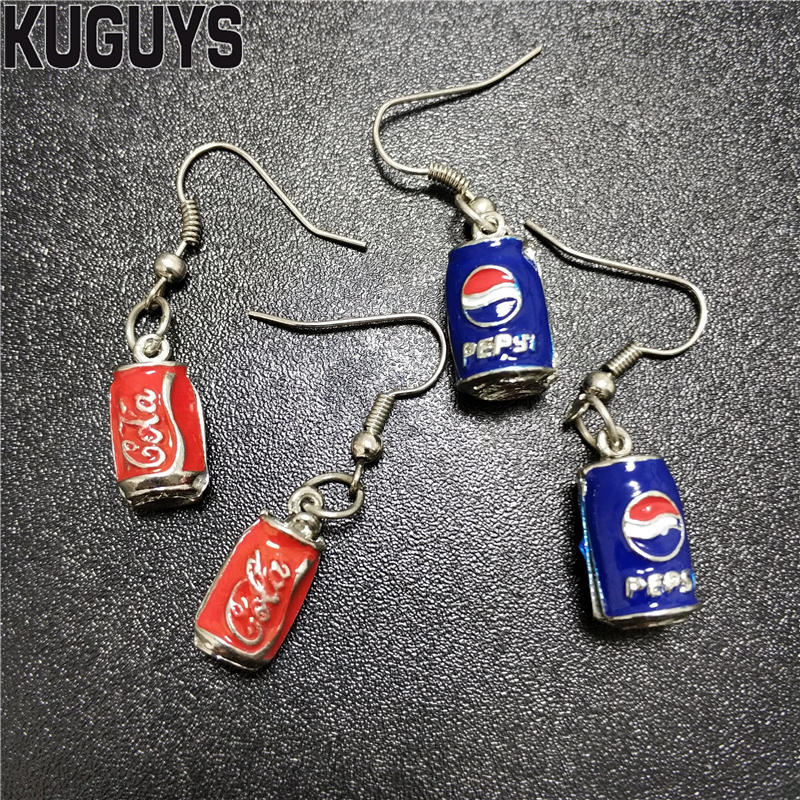 KUGUYS Cute Can Soda Earrings For Womens Trendy Jewelry Fashion 2 Style Metal Small Drop Earring Gift Accessories