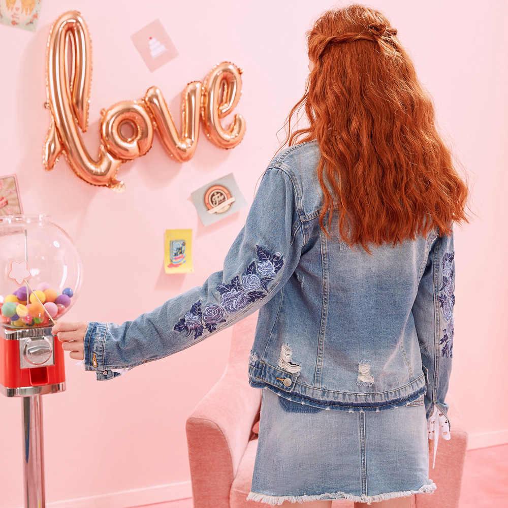 Metersbonwe Jean Jacke für Frauen drehen-unten Kragen Lose Blau Modische Frauen Mäntel Weibliche Outwear Denim Feminine Casual Sty