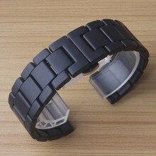 Матовые керамические браслеты для наручных часов 18, 20, 22 мм, шлифованный песочный ремешок для часов с бабочками и пряжками, неполированные Ремешки для наручных часов