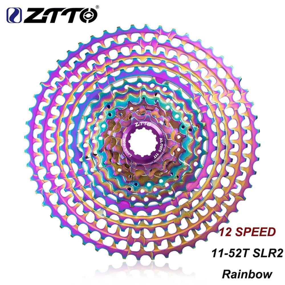 ZTTO MTB Bike 12 Speed 11 52T SLR2 Ultralight Cassette Rainbow k7 12S Current 12V 52T CNC K7 Freewheel For HG Hub m9100 GX EAGLE