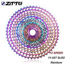 Ztto cassete ultraleve para mtb, cassete colorido de 12 velocidades 11 52t slr2 k7 hg arco íris compatível com bike12s 12v 52t cnc roda livre para hg hub
