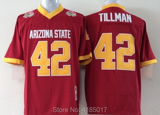 Mens Arizona State Sun Devils 42 Pat Tillman Pose Bowl Game College Football Jersey Red  ...