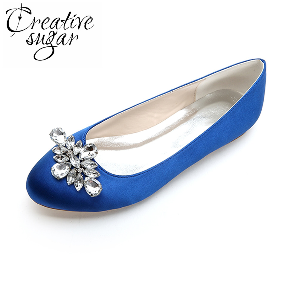 Creativesugar ladies elegant flat crystal women slip on noble shoes mother of bridal party casual satin shoes blue silver grey