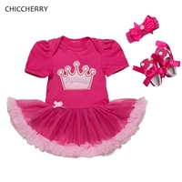 Princess Crown 1 Year Birthday Dress Lace Petti Romper Headband Shoes Toddler Birthday Outfits Infant Clothing