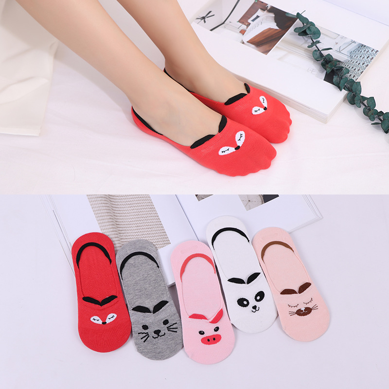 Women   Socks   Candy Color Small Animal Cartoon Pattern Boat   Sock   for Summer Breathable Casual Girls Funny Fashion