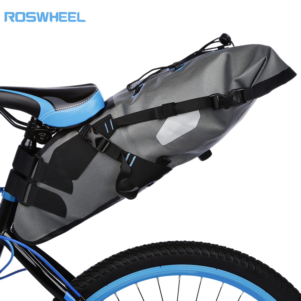ROSWHEEL Attack 7L Waterproof MTB Cycling Bicycle Bag Bike Pannier Bag Saddle Rear Seat Pack Carrier roswheel bicycle bag men women bike rear seat saddle bag crossbody bag for cycling accessories outdoor sport riding backpack