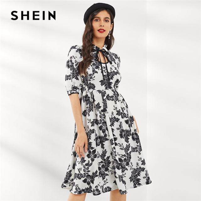 274f84f22e SHEIN Black and White Keyhole Tie Neck Floral Fit & Flare Dress 2018 Autumn  Trapeze Bishop