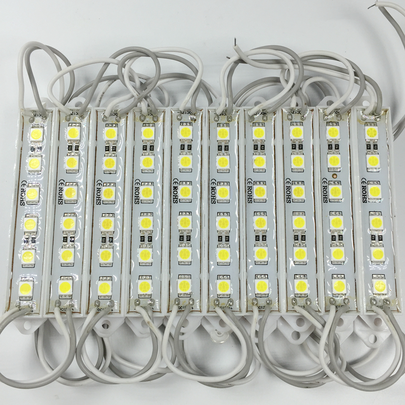 20PCS 5050 SMD 6LEDs LED Module Pure White Waterproof Light Advertising Lamp DC 12V For Sign Letters