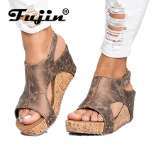 Fujin Brand 2019 New Women Sandals Platform Wedges Shoes for Ladies Heels Summer Leather Wedge 43