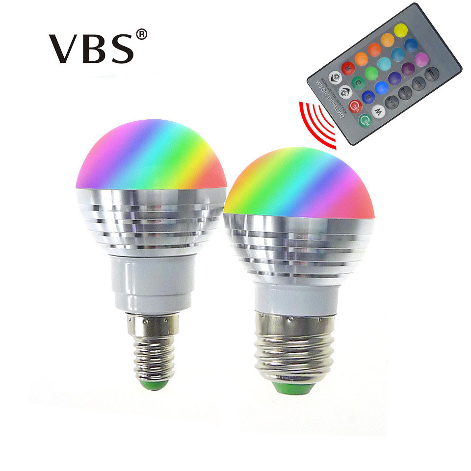 LED RGB Bulb Lamp E27 E14 AC85-265V 3W LED RGB Spot Blubs Light Magic Holiday RGB lighting+IR Remote Control 16 Colors