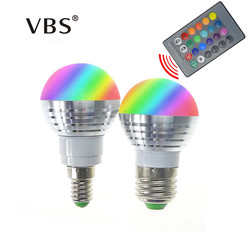 LED RGB Lamp Bulb Bombillas E14 E27 3W RGB Bulb Spotlight 85-265V Magic Holiday RGB lighting 16 Colors with IR Remote Control