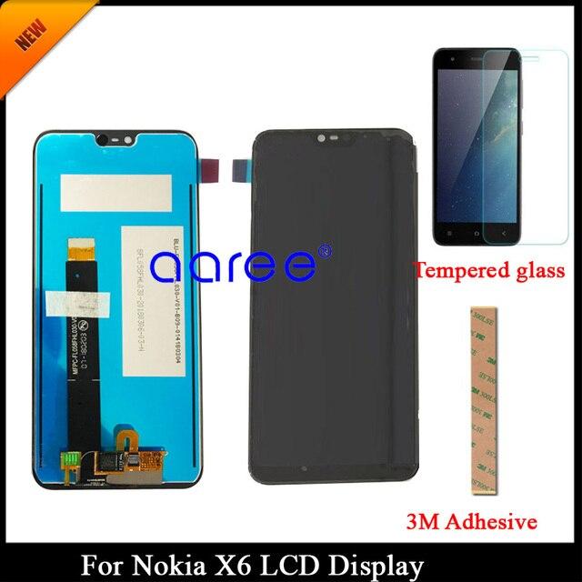 100% נבדק כיתה AAA LCD תצוגה עבור Nokia X6 LCD עבור נוקיה X6 2018 TA-1109 תצוגת LCD מסך מגע Digitizer עצרת