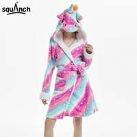 Stars Unicorn Bathrobe Animals Cartoon Fancy Coat Panda Rainbow Galaxy Fantasy Bath Robe Pajama Kigurumi Women Adult Nightgown