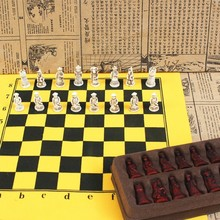 New Antique Chess Small Leather Board Qing Bing Pieces Characters Parenting Gifts Entertainment