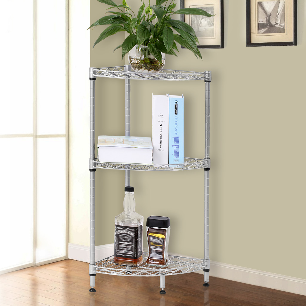 Bathroom free standing shelving units - Aliexpress Com Buy 3 Tier Quarter Circle Wire Corner Shelving Unit Free Standing Storage Organization Shelf Rack For Bathroom Kitchen Living Room From