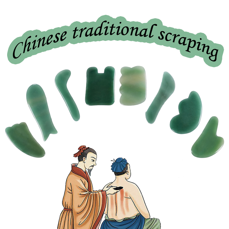 Massage Gua Sha Tool Set 8 pieces/lot Natural Aventurine Stone China Traditional Facial SPA Acupuncture Scraping Healing Body-in Massage & Relaxation from Beauty & Health    1