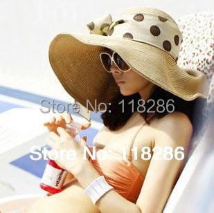 Envío Libre grande ala sombrero con la cinta de la mujer del recorrido sombrero de verano sombrero de la playa