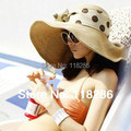 Free Shipping  large brim hat with ribbon woman summer hat  travel beach hat