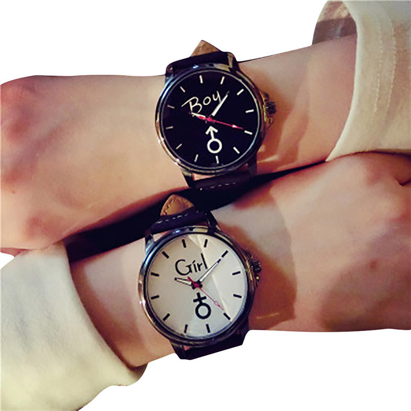 hot sale men wome watches 2017 Lovers Quartz Analog Wrist Delicate Watch Luxury Leather  ...