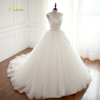 Loverxu Vestido De Noiva Scoop Neck A Line Wedding Dresses 2018 Sexy Backless Appliques Embroidery Tulle Bridal Gown Plus Size