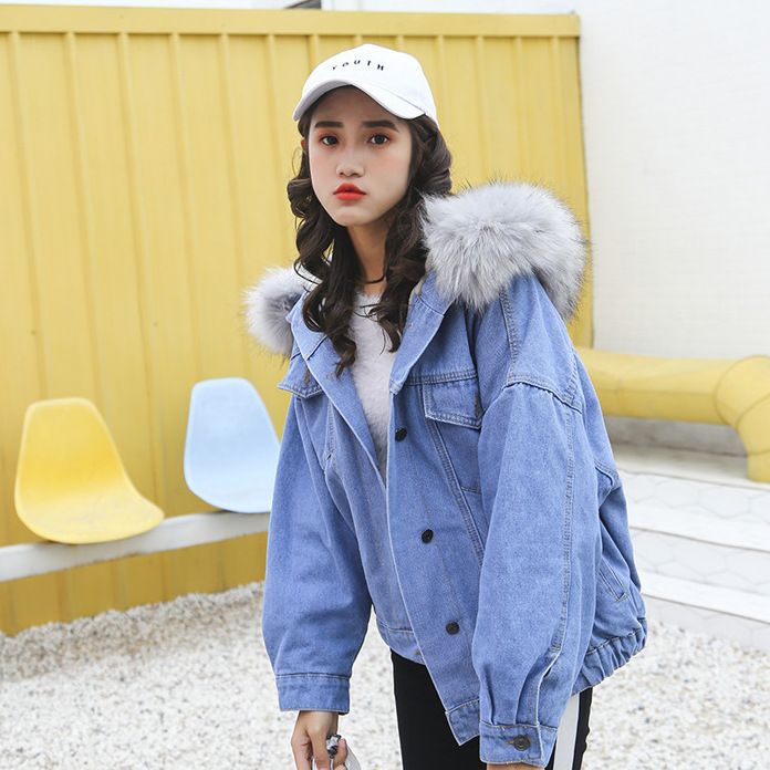 Women Denim Coat 2018 New Winter Thick Hooded Jacket Fur Collar Outerwear Snow Wear Coat Women