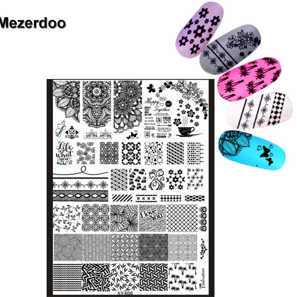Mezerdoo Super Big Lace Side Flower Stamping 18x25cm Nail Art DIY Tips Salon Express Stamp Plates Templates Stencils M38