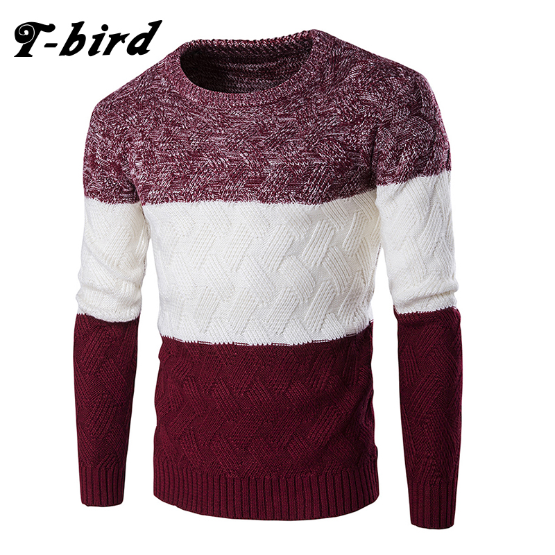 T-Bird Casual Men Sweater O-Neck Patchwork Slim Knitting Mens Fashion Brand Sweaters Pullovers Fight Color Pullover Knitwear