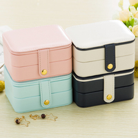 Creative Small Jewelry Box Multi Layer Portable Travel Jewellry Storage Boxes PU Leather Women Earrings Organizer