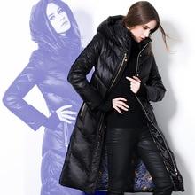 Европа и соединенные Зимы Женщин Thicking Верхняя Одежда Женщина Долго Гуся Пуховик Плюс Размер Пуховик Зимняя Одежда