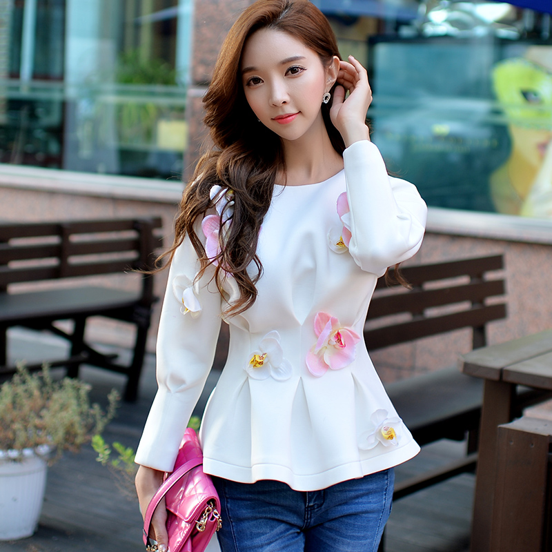 Original 2016 Brand Autumn Sweatshirt Plus Size Slim Fashion Casual Long Sleeve Flower White Women Hoodies Wholesale ...