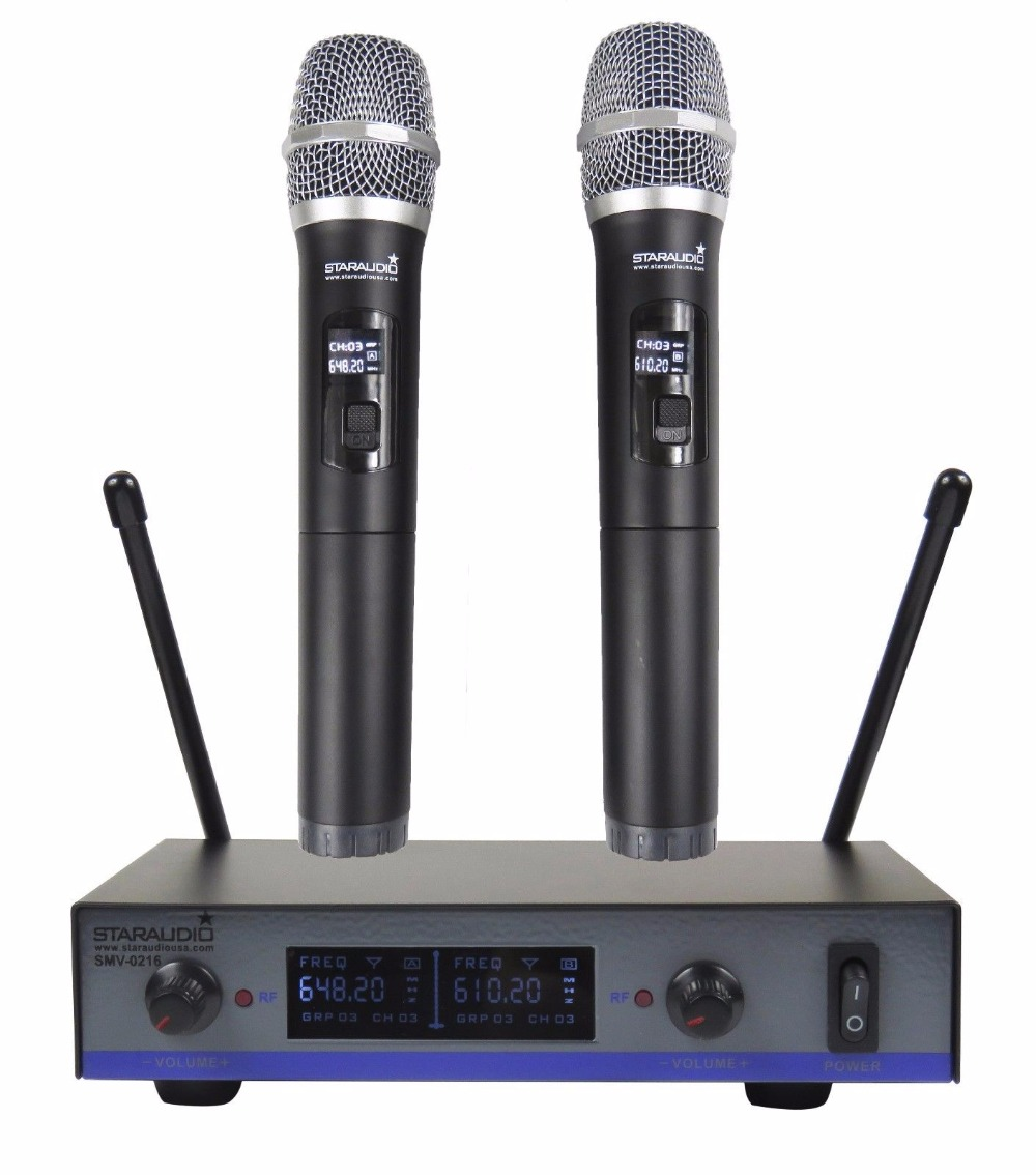 STARAUDIO  Pro 2CH UHF Dynamic Wireless Handheld Microphone for DJ Stage Church Party Club Karaoke   SMU-0216A трицепс машина body solid pro club stm1000g 2