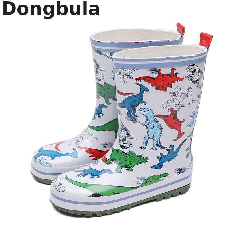 Winter Kids Rain Boots Boys Girls Outdoor Waterproof Rubber Boots Cartoon Dinosaur Cute Children's Fashion Non-slip Water Boots