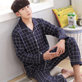 2017 spring and summer men's pajamas oblique cardigan cotton green in the elderly thin section of home service wear pajamas male