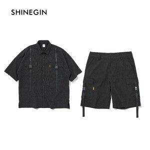 SHINEGIN Men shirt short sleeve black stripe casual shirt tracksuit men 2019 summer streetwear loose fit harajuku 113S/114W