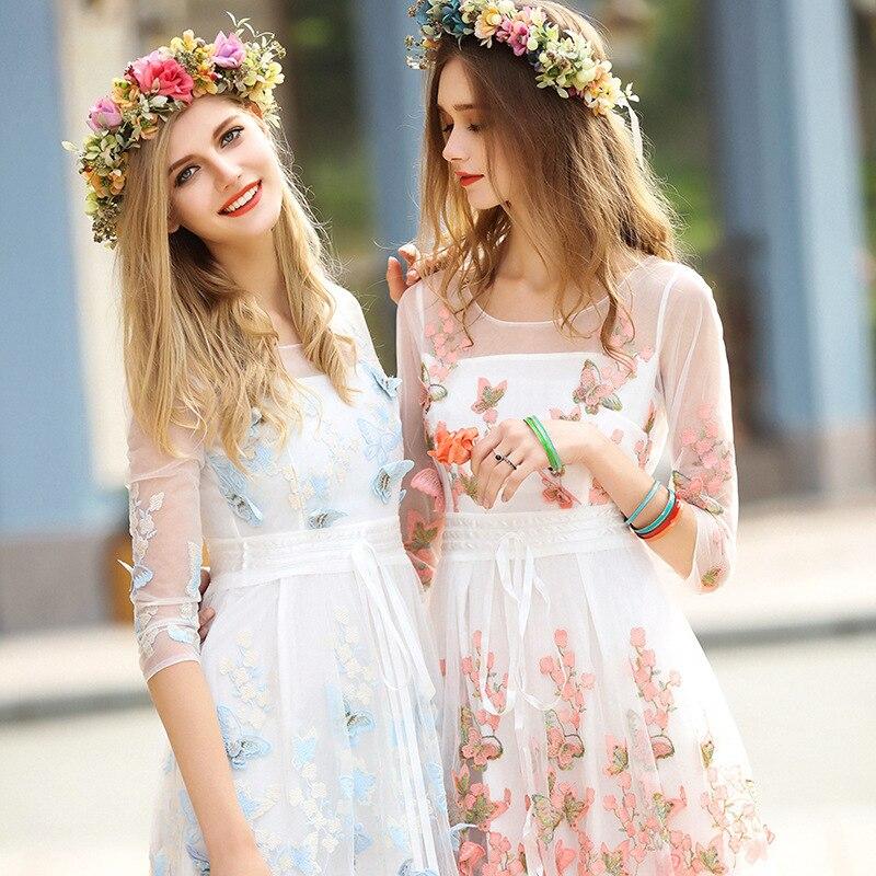 4ecd6ab0e5d1 Royal vestiti da partito delle donne bella fiori di farfalla del ricamo  appliques abiti senza maniche fresco di estate lungo della signora vestito  NS671 in ...