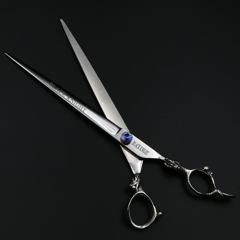 9 inch Scissors Red/Blue Gem Professional Pets Dogs Hair Straight Cutting Shears Hairdressing dragon-shaped handle